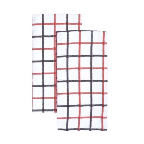 Pack of Two Woven Check Tea Towels