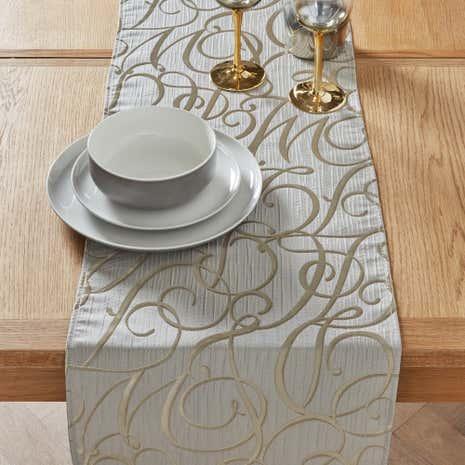 Elegant Gold Script Table Runner