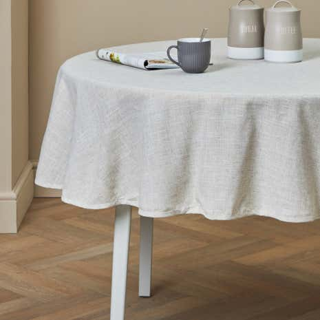 Plain Linen Round Tablecloth