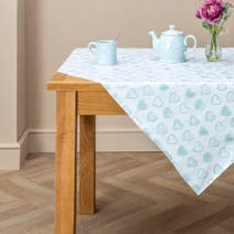 Duck Egg Country Heart PVC Tablecloth