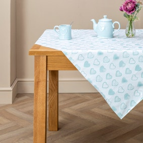 Country Duck-Egg Heart PVC Tablecloth