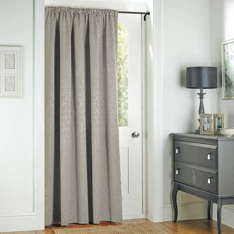 Toledo Silver Thermal Pencil Pleat Door Curtain