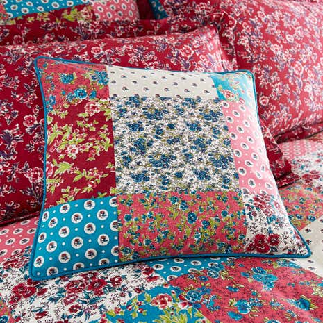 Ava Patchwork Red Cushion