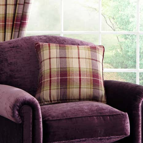Dorma Plum Bloomsbury Check Square Cushion