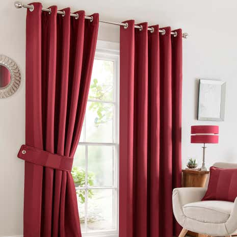 Monaco Red Lined Eyelet Curtains