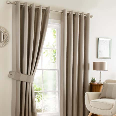 Monaco Taupe Lined Eyelet Curtains
