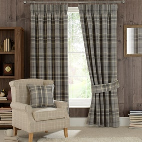 Highland Check Dove Grey Pencil Pleat Curtains