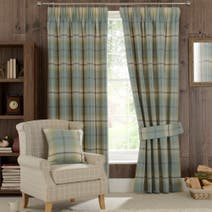Highland Check Duck-Egg Lined Pencil Pleat Curtains