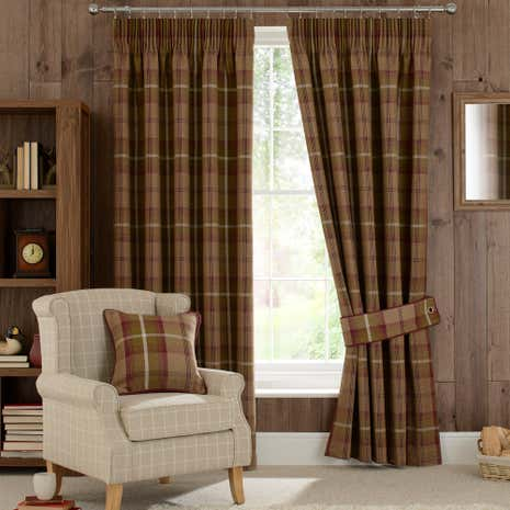 Highland check plum lined pencil pleat curtains dunelm for B q living room curtains