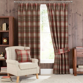 Highland Check Red Pencil Pleat Lined Curtains