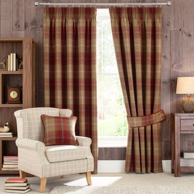 Highland Check Wine Lined Pencil Pleat Curtains