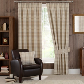 Highland Check Natural Lined Pencil Pleat Curtains