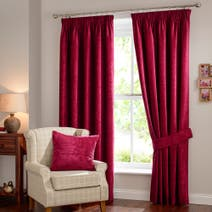 Cranberry Chenille Lined Pencil Pleat Curtains