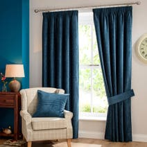 Teal Chenille Lined Pencil Pleat Curtains