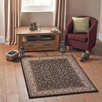 Black Oriental Patterned Rug