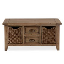 Cole Pine Coffee Table with Baskets