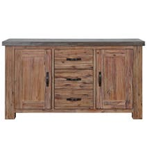 Harvey Acacia Large Sideboard With Concrete Top