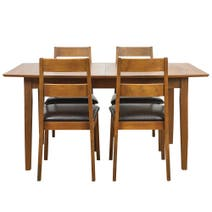Carson Walnut Large Extending Dining Table and Chairs