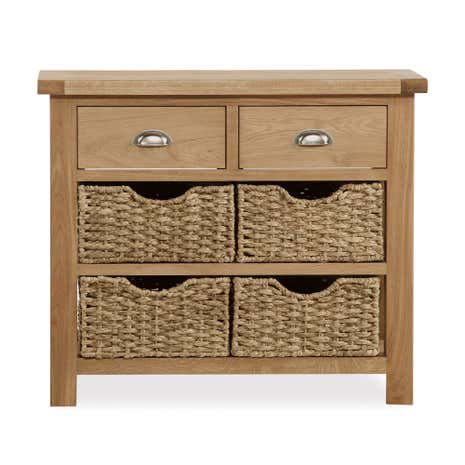 Oakley Oak Console Table With Baskets