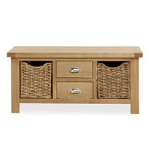 Oakley Oak Large Coffee Table With Baskets