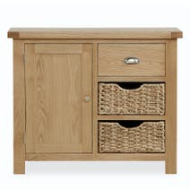 Oakley Small Oak Sideboard With Baskets