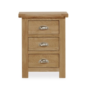Oakley Oak 3 Drawer Bedside Table