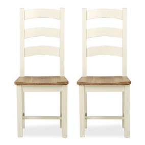 Wilby Cream Pair of Slatted Dining Chairs