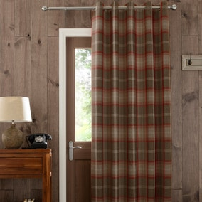 Highland Red Check Lined Eyelet Door Curtain