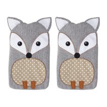 Pair of Grey Fox Hand Warmers