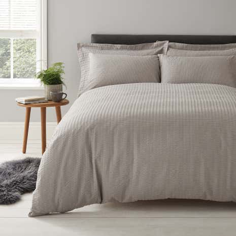 Logan Seersucker Grey Duvet Cover and Pillowcase Set