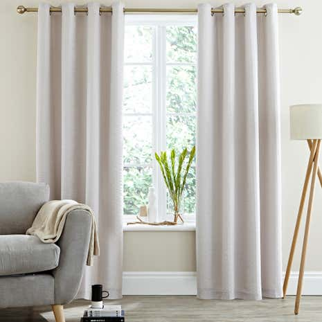 Logan Seersucker Grey Thermal Eyelet Curtains