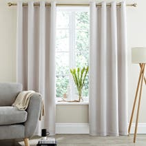 Grey Logan Seersucker Thermal Eyelet Curtains