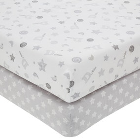 Disney Dumbo Grey Nursery Pair of Cot Bed Fitted Sheets