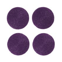 Purple Seed Beaded Set of Four Coasters