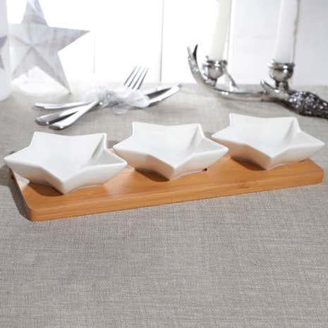 Set of 3 Star Dip Dishes on Bamboo Tray