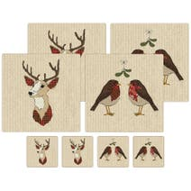 Rustic Robin Placemats & Coasters Set