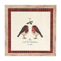 Rustic Robin Embroidered Frame
