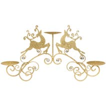 Gold Reindeer Three Pillar Candle Holder