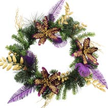 Gold Poinsettia Pine Wreath