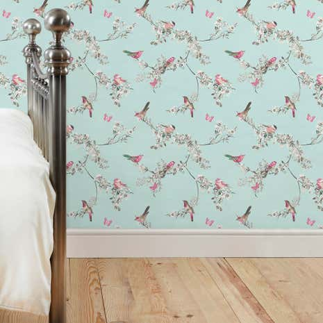 Beautiful Birds Duck Egg Wallpaper Dunelm