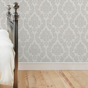 Charlotte Damask Silver Wallpaper