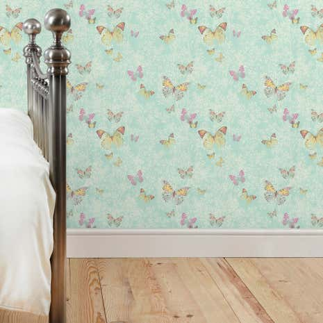 Botanica Butterfly Duck-Egg Wallpaper