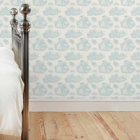 Toile De Jouy Blue Wallpaper