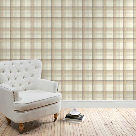 Balmoral Check Natural Wallpaper