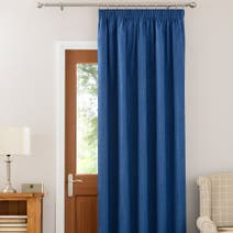 Blue Solar Thermal Pencil Pleat Door Curtain