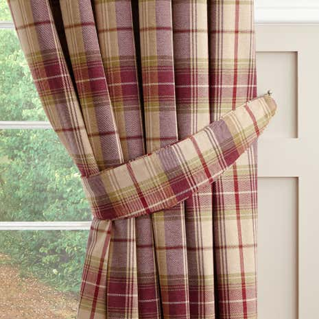 Dorma Bloomsbury Plum Check Tiebacks