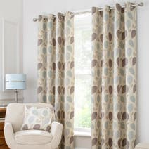 Turin Duck-Egg Lined Eyelet Curtains
