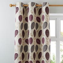 Plum Turin Lined Eyelet Curtains