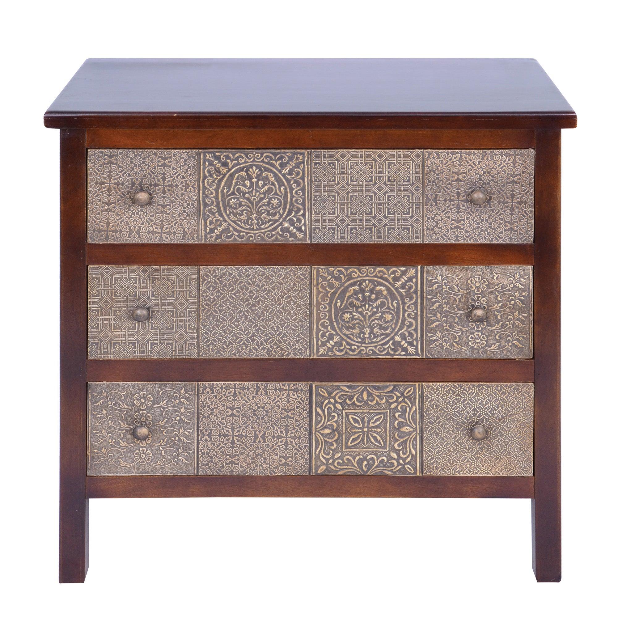 havina dark wood 3 drawer chest dunelm. Black Bedroom Furniture Sets. Home Design Ideas