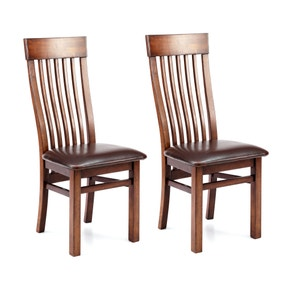 Brooklyn Dark Wood Pair of Dining Chairs